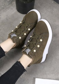Army Green Round Toe Pearl Lace-up Fashion Ankle Shoes