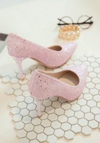 Pink Point Toe Rhinestone Fashion High-Heeled Shoes