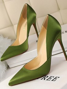 Green Point Toe Stiletto Patchwork Fashion High-Heeled Shoes