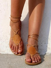 Tan Brown Round Toe Flat Lace-up PU Leather Beach Ankle Sandals