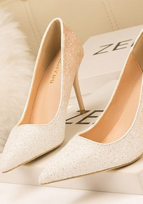 White And Apricot Point Toe Sequin Stiletto Fashion High-Heeled Shoes