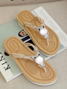 White Round Toe Flat Sequin Fashion Sandals