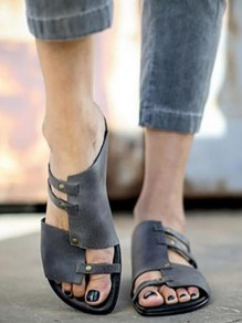 Grey Round Toe PU Leather Gladiator Casual Sandals