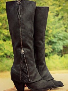 Black Suede Round Toe Lace Chunky Fashion Mid-Calf Boots