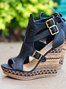 Black Round Toe Wedges Double Buckle Fashion High-Heeled Sandals