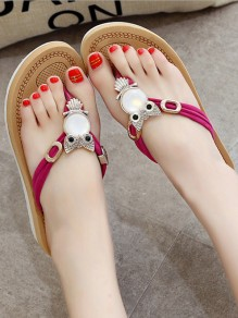 Red Round Toe Beaded Owl Rhinestone Flat Casual Sandals Flip Flops