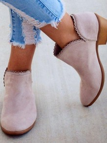 Pink Round Toe Chunky Fashion Ankle Boots