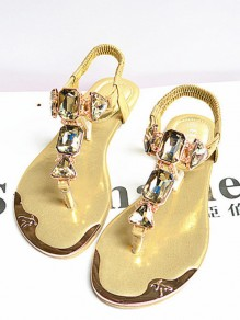 Golden Round Rhinestone Casual Ankle Sandals