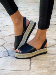 Black Piscine Mouth Flat Fashion Heavy-Soled Sandals