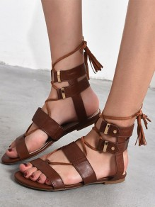 Brown Round Toe Tassel Cross Strap Fashion Ankle Sandals