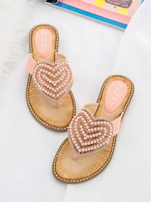 Sandales bout rond strass amour coeur mode rose