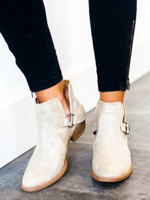 White Point Toe Chunky Casual High-Heeled Boots