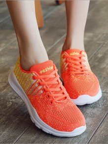 Orange And Yellow Round Toe Lace-up Casual Ankle Shoes