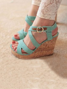 Green Round Toe Wedges Buckle Fashion High-Heeled Sandals