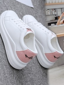 White Round Toe Print Casual Ankle Shoes