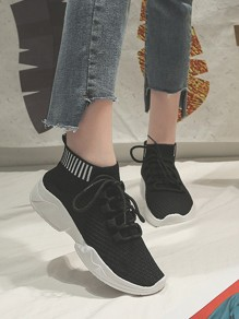 Black Round Toe Lace-up Fashion Ankle Shoes