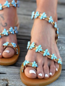Brown Round Toe Flat Rhinestone Fashion Ankle Sandals