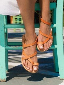 Brown Round Toe Flat Cross Strap Fashion Ankle Sandals