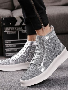 Silver Round Toe Sequin Fashion Ankle Shoes