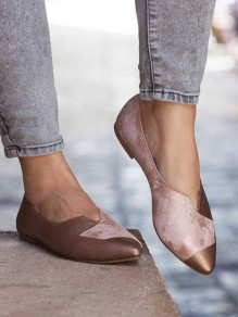 Pink Point Toe Flat Patchwork Fashion Shoes