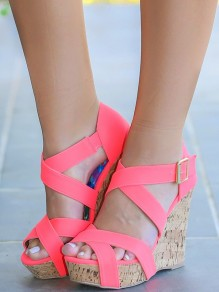 Pink Round Toe Wedges Cross Strap Fashion High-Heeled Shoes