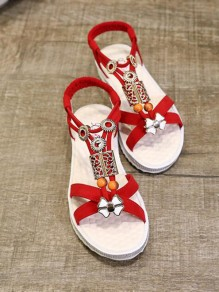Sandales bout rond mode strass plat rouge