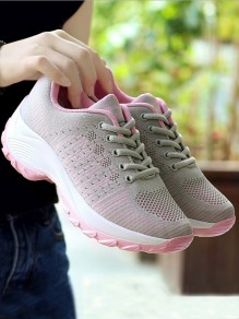 Pink And Grey Round Toe Lace-up Casual Ankle Shoes
