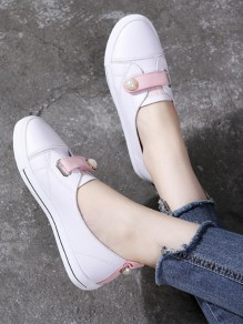 Pink Round Toe Pearl Fashion Ankle Shoes
