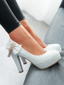 Chaussures bout rond noeud papillon mode strass à talons hauts blanc