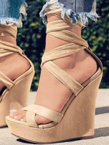 Apricot Round Toe Wedges Fashion High-Heeled Sandals