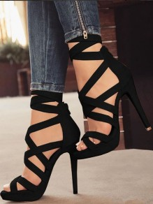 Black Round Toe Stiletto Fashion High-Heeled Sandals