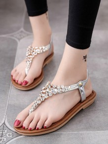 Withe Round Rhinestone Casual Ankle Sandals