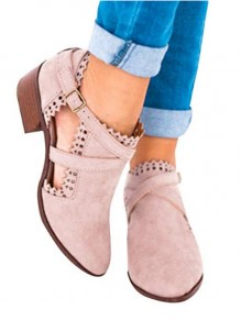 Pink Round Toe Cut Out Fashion Ankle Boots