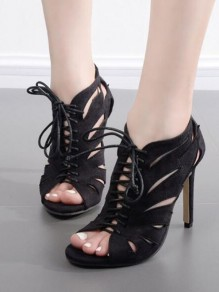 Black Round Toe Stiletto Cut Out Cross Strap Fashion High-Heeled Sandals
