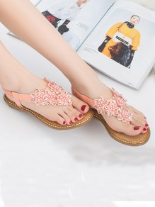Pink Round Toe Pearl Flower Fashion Ankle Sandals