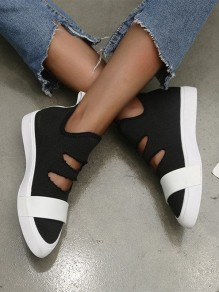 Black Round Toe Cut Out Fashion Ankle Shoes
