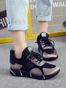 Dark Brown Round Toe Flat Patchwork Fashion Ankle Shoes