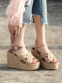 Apricot Round Toe Wedges Casual Ankle Shoes