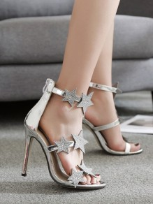 Silver Round Toe Rhinestone Stiletto Fashion High-Heeled Sandals