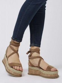 Apricot Round Wedges Casual Toe High-Heeled Sandals