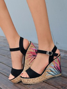Black Round Toe Embroidery Fashion Wedges Sandals