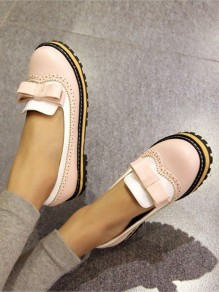 Pink Round Toe Bow Fashion Ankle Shoes