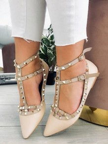 Chaussures rivet bout pointu bride cheville chunky boucler mode femme blanc