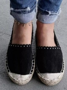 Black Round Toe Casual Ankle Shoes