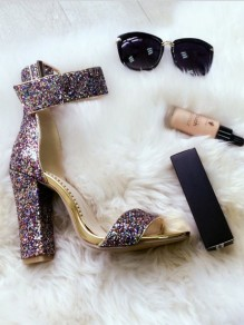 Silver Sequin Point Toe Fashion High-Heeled Sandals