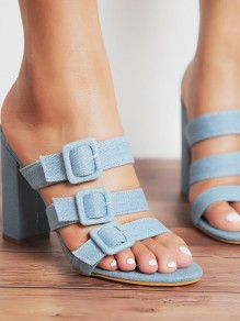 Blue Round Toe Chunky Fashion Ankle Sandals