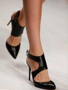 Black Point Toe Stiletto Cut Out Fashion High-Heeled Sandals