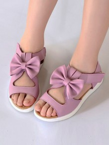 Purple Round Toe Flat Bow Cut Out Cute Ankle Sandals