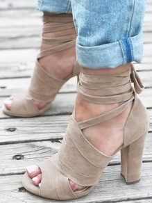 Beige Round Toe Chunky Lace-up Fashion High-Heeled Sandals