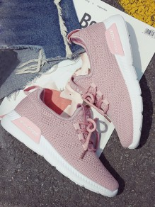 Pink Round Toe Lace-up Casual Ankle Shoes